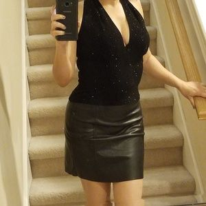 BOGO H&M leather like raw edge mini skirt